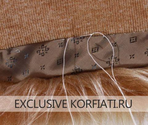 Подгиб искусственного меха обтачкой