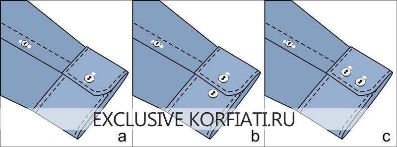 Чертежи манжет со скруглёнными углами с застежками на 1 и 2 пуговицы