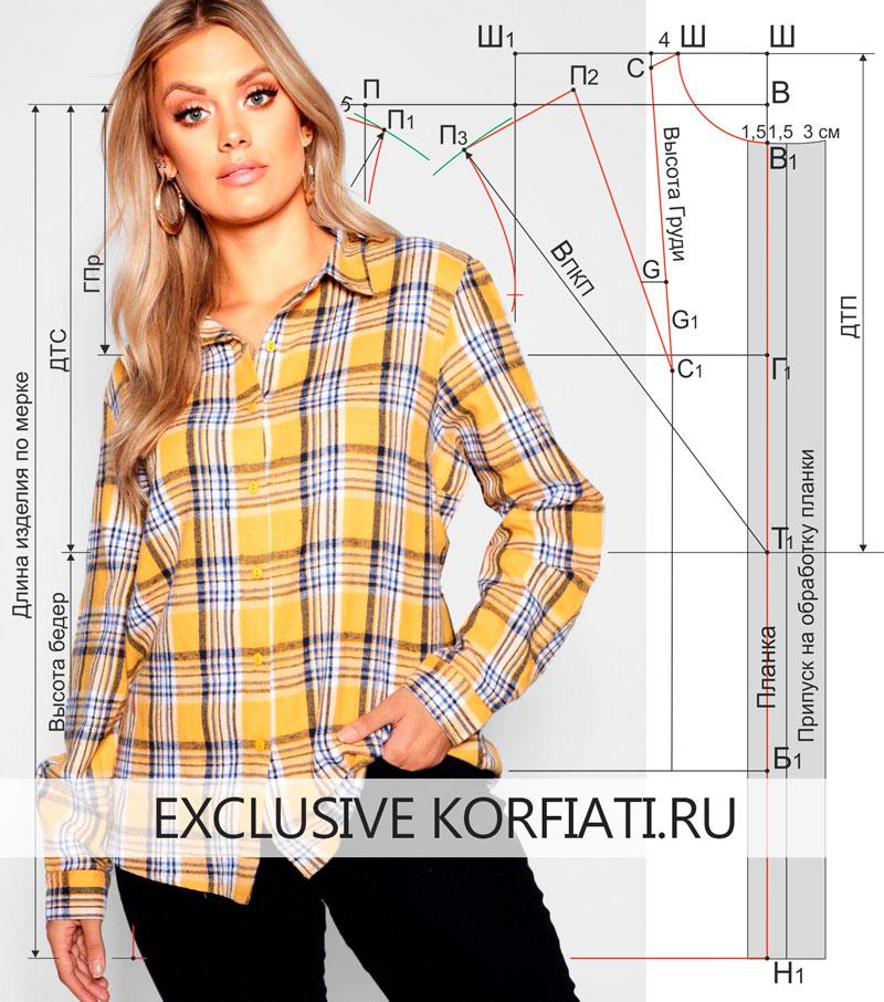 Base-pattern-blouse Выкройка женской блузки - основа от А. Корфиати