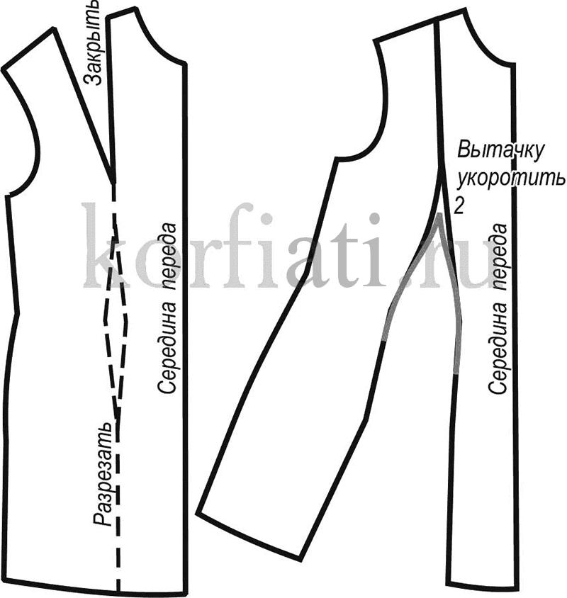 Перевод нагрудных вытачек на линию талии