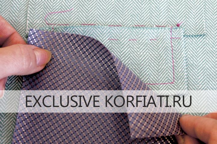 Обработка кармана с накладной листочкой - мешковины