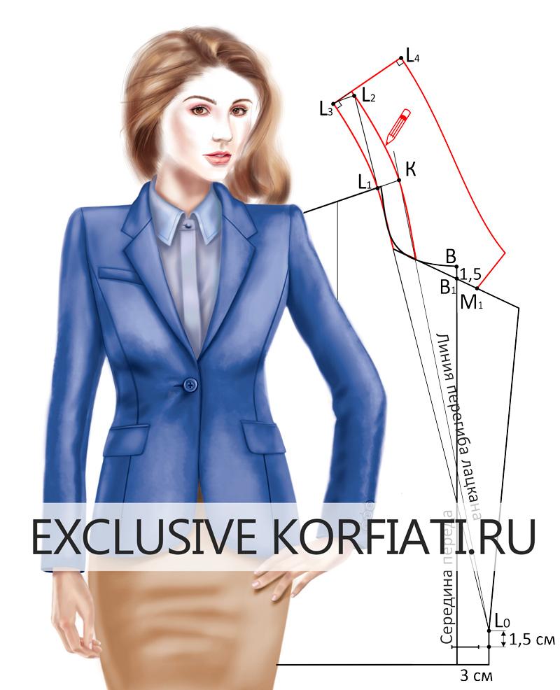 Воротник пиджачного типа с лацканами прямоугольной формы - эскиз