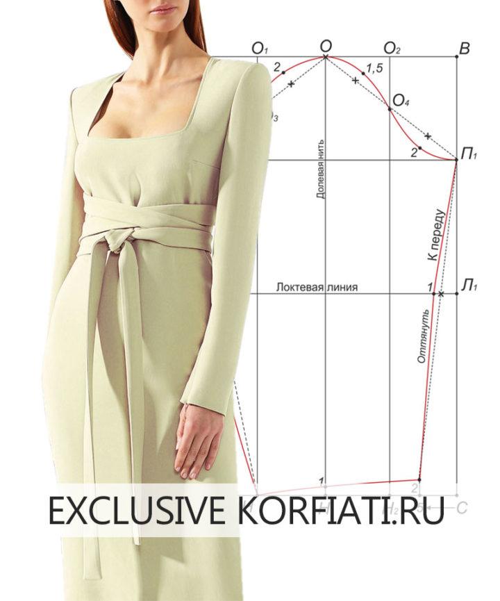 Выкройка узкого рукава для платья