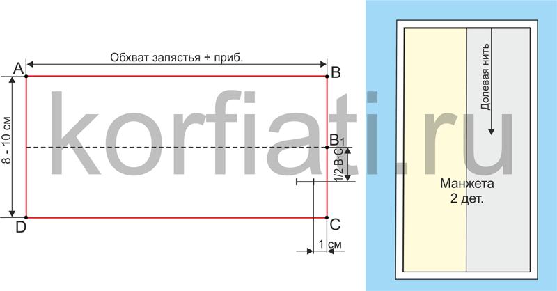 Выкройка притачной прямоугольной манжеты