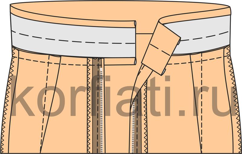 Технология обработки притачного пояса пошагово