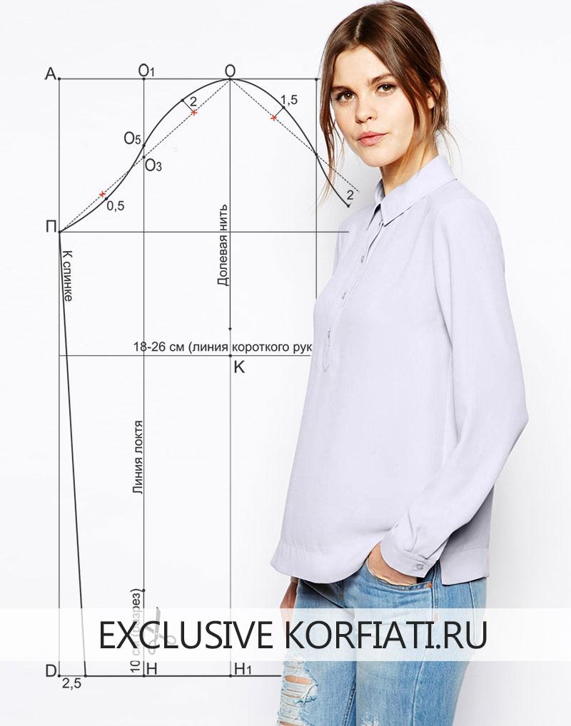 Выкройка рубашки женской с длинным рукавом для новичков фото 860