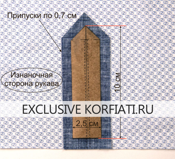 Обработка разреза рукава подкройной обтачкой