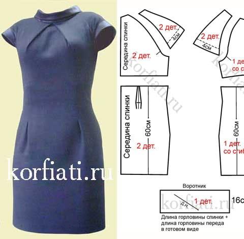 Выкройка платья со складками по горловине
