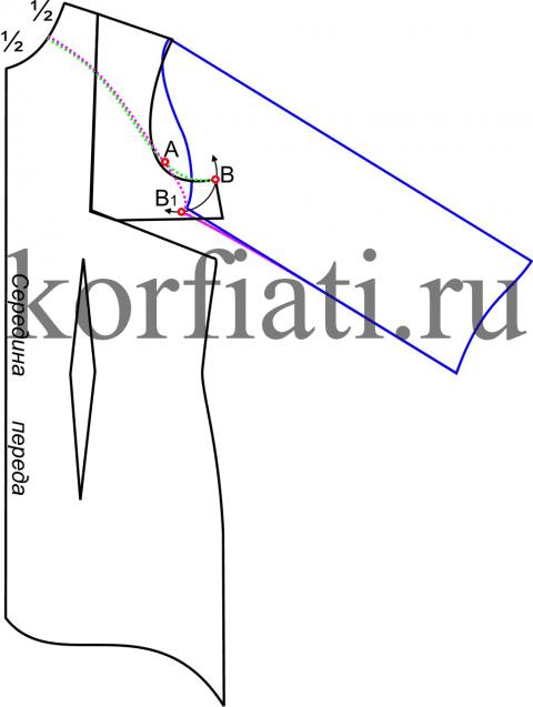 Моделирование выкройки изделия с рукавом реглан