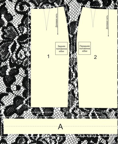 Выкройка юбки карандаш - детали кроя