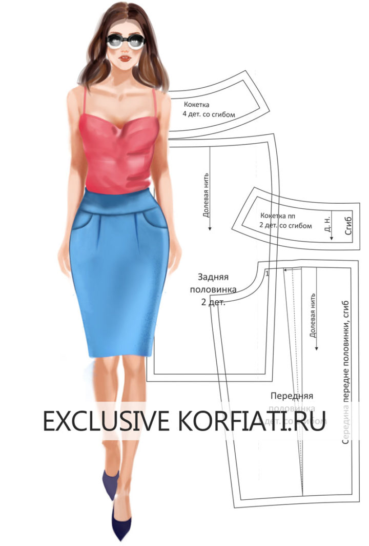 Выкройка юбки с кокеткой