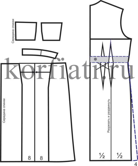 Моделирование спинки платья корсаж