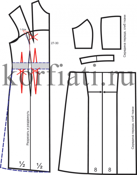 Моделирование переда платья корсаж