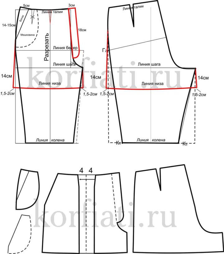 Выкройка шорт со складками