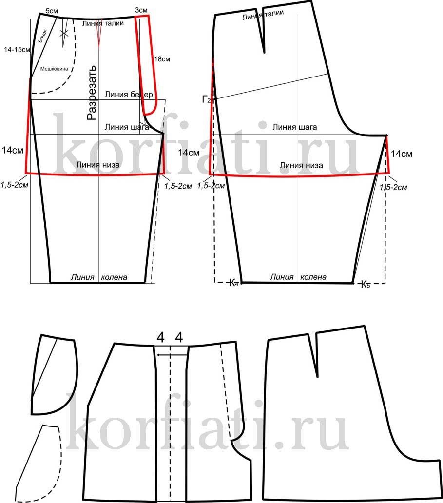 Выкройка женские шорты