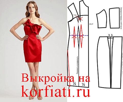 Выкройка платья с открытыми плечами