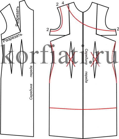 Моделирование переда платья на одно плечо
