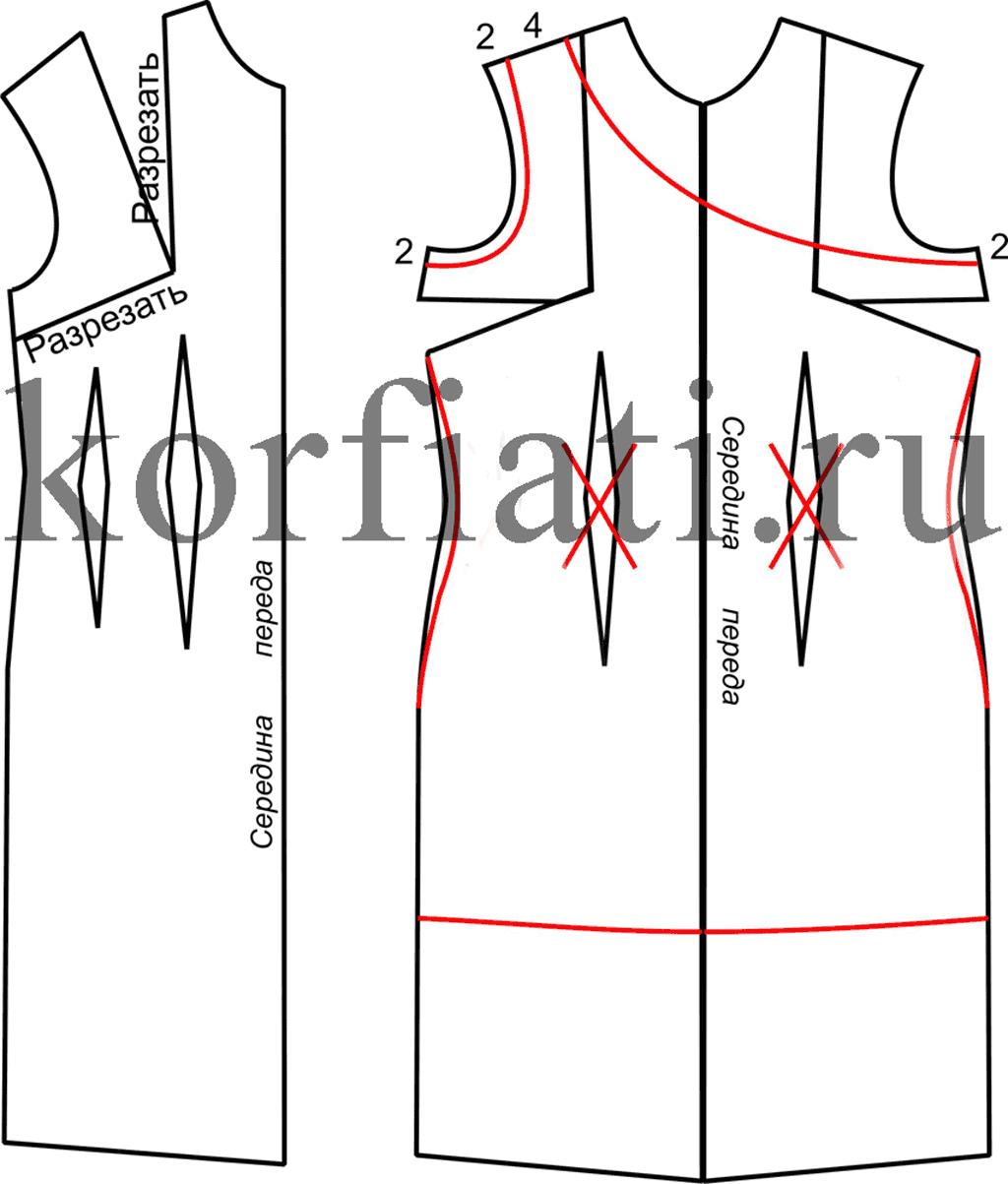 Построение платья на одно плече