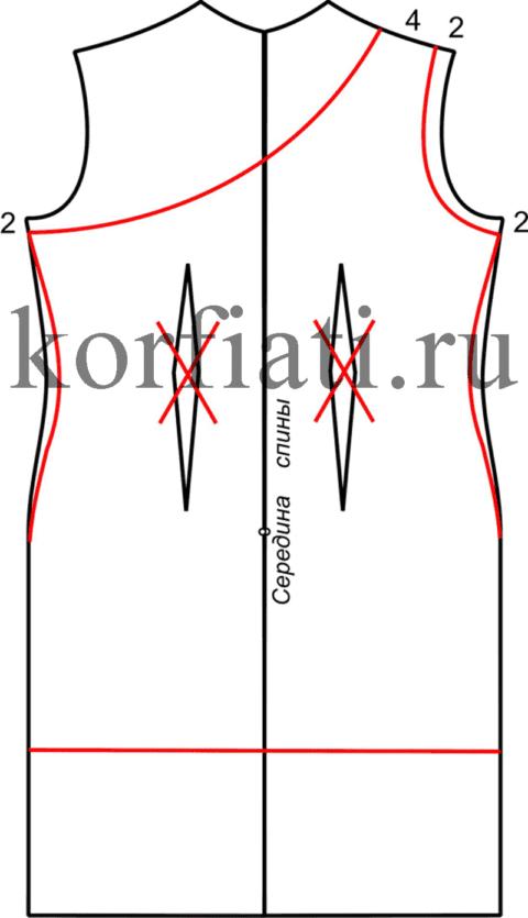 Моделирование спинки платья на одно плечо