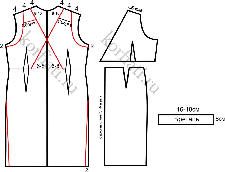 Моделирование задней половинки платья