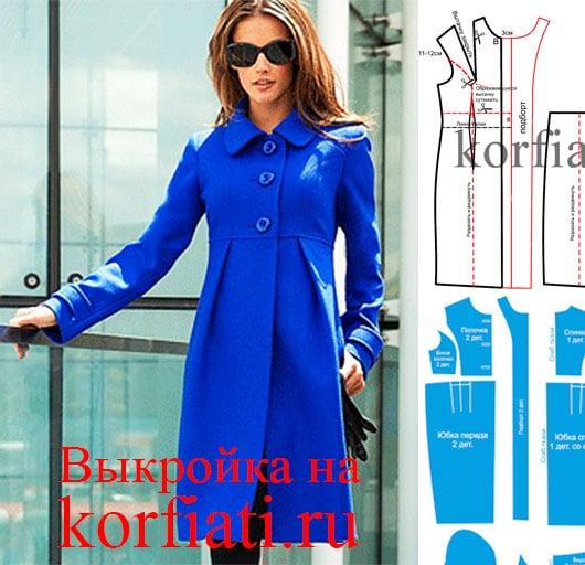Стильное синее пальто