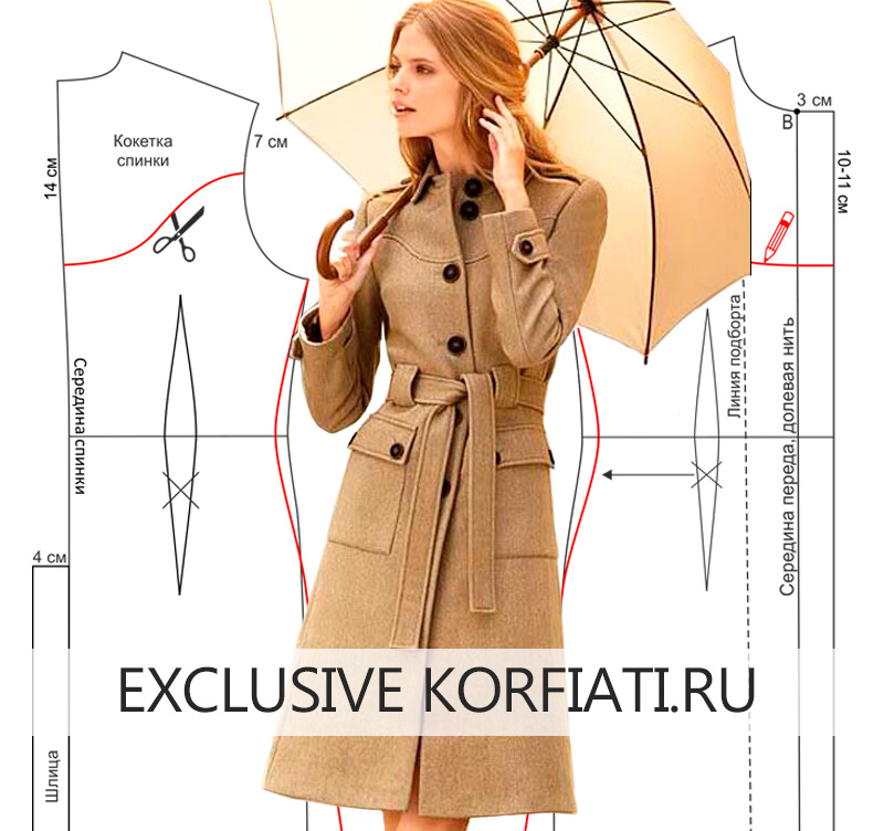 Выкройка пальто с накладными карманами модель