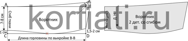 Выкройка пальто в клетку - моделирование воротника чертеж
