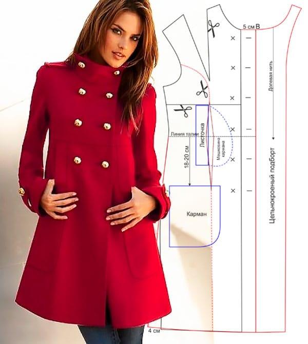 Выкройка пальто с воротником стойка