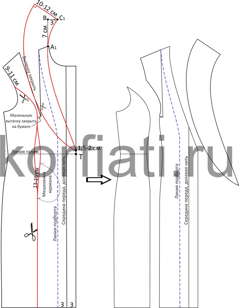 Выкройка пальто с воротником шалька из кашемира - моделирование полочки чертеж
