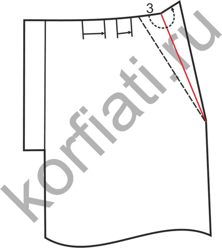 Боковые карманы на мужские брюки - обтачка кармана -чертеж