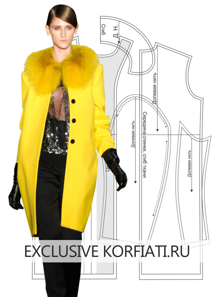 Выкройка прямого пальто - изделие на модели