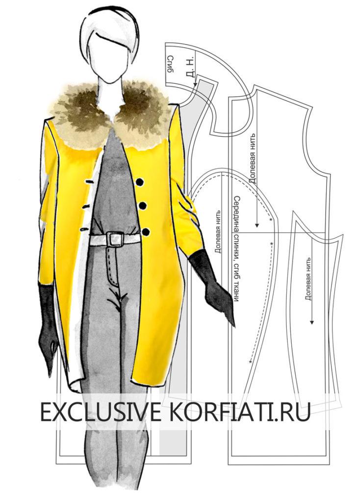 Как сшить прямое пальто - эскиз