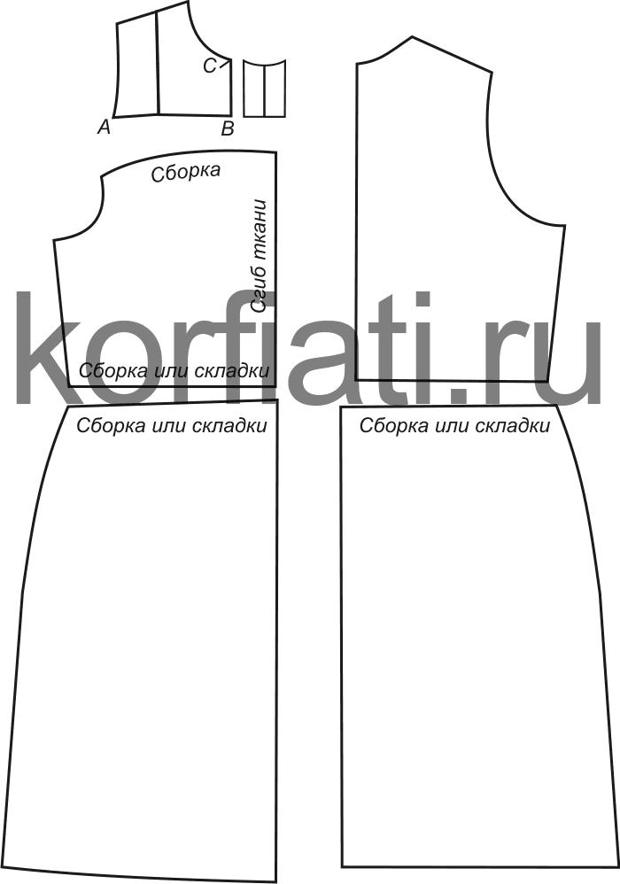 Выкройка платья с кокеткой - детали кроя
