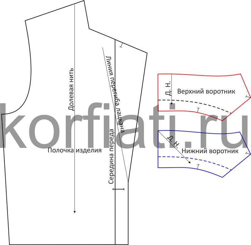 Детали выкройки воротника с цельнокроеной стойкой