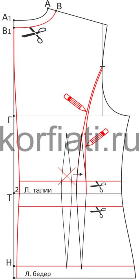 Моделирование спинки жакета с втачным поясом