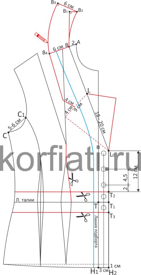 Моделирование полочки жакета с втачным поясом