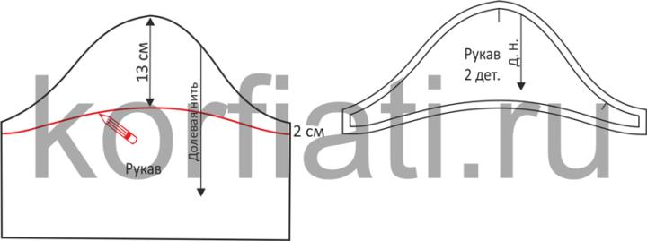 Выкройка короткого рукава к платью с прямоугольным вырезом