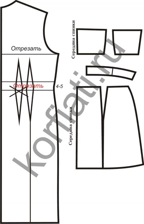 Платье с открытыми плечами - чертеж спинки