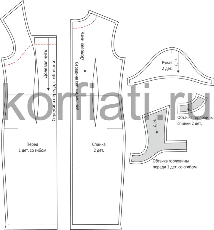 Выкройка платья футляр - детали кроя