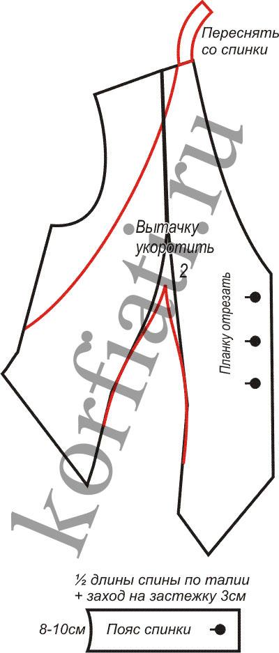 Выкройка жилета без спинки - детали кроя