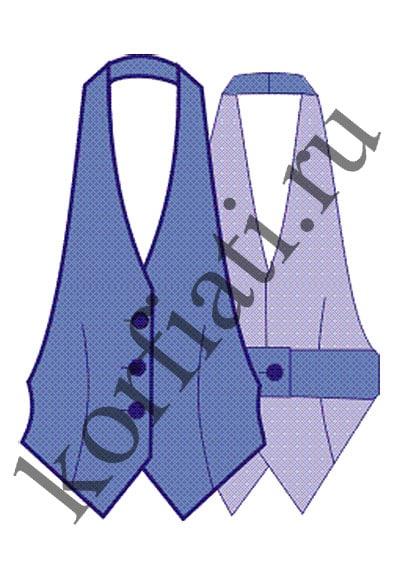 Выкройка жилета без спинки - чертеж модели