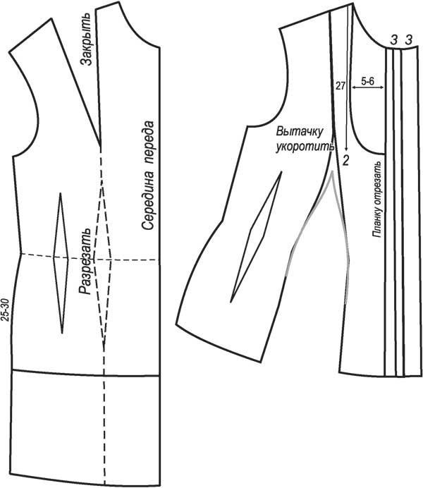 ...начертите по лекалу пластрон шириной 5 -6 см. Спинку блузки переснять...