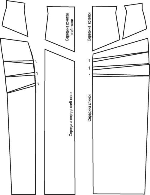 Выкройка детской юбки кокетка и складками