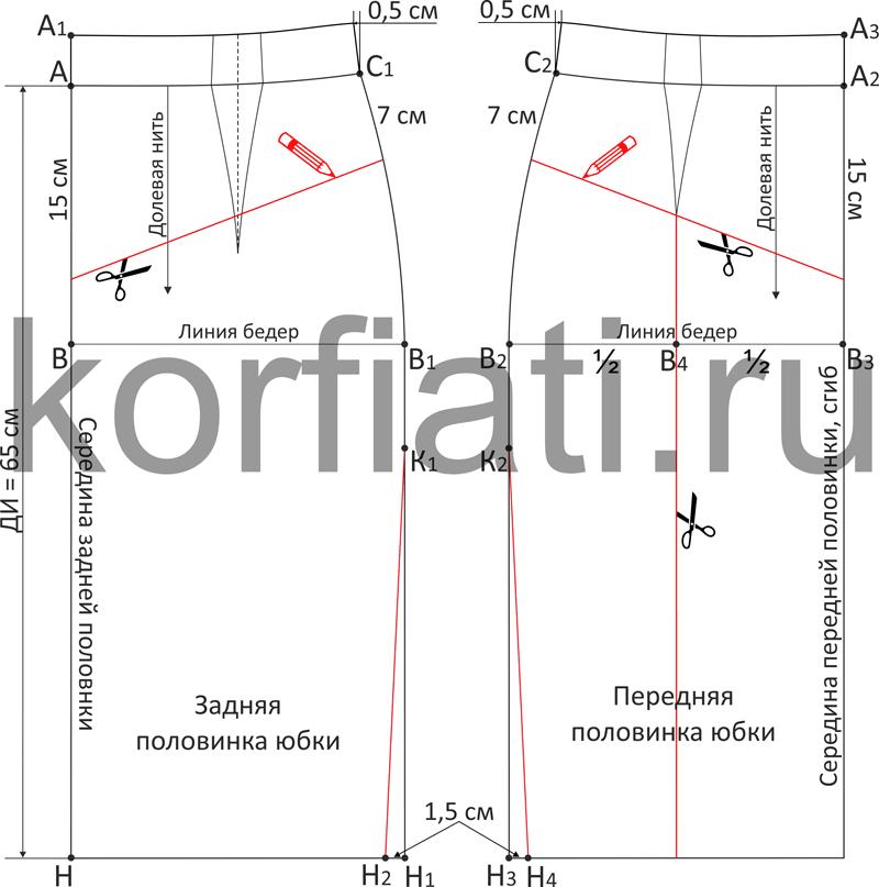 Моделирование выкройки юбкис цельнокроеным поясом и кокеткой
