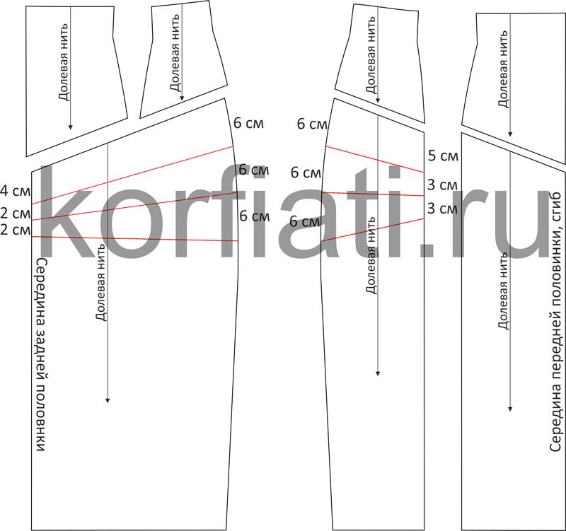 Выкройка юбкис цельнокроеным поясом и кокеткой - чертеж