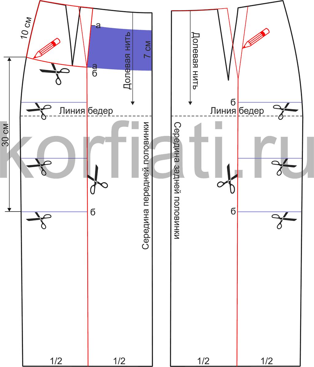 Выкройка схема юбки с запахом