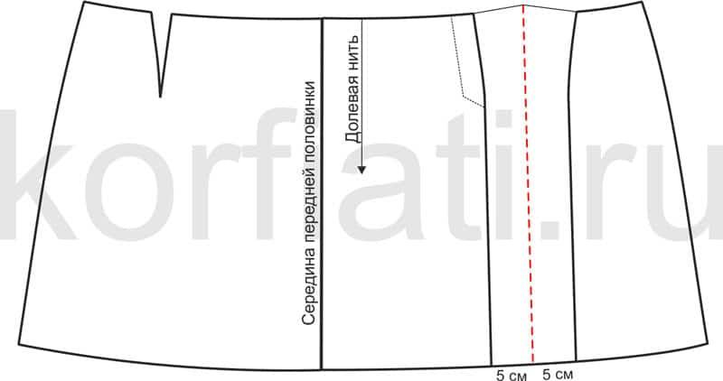 Выкройка юбки шотландки - переднее полотнище