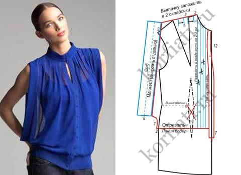 Выкройки блуза из шифона своими руками