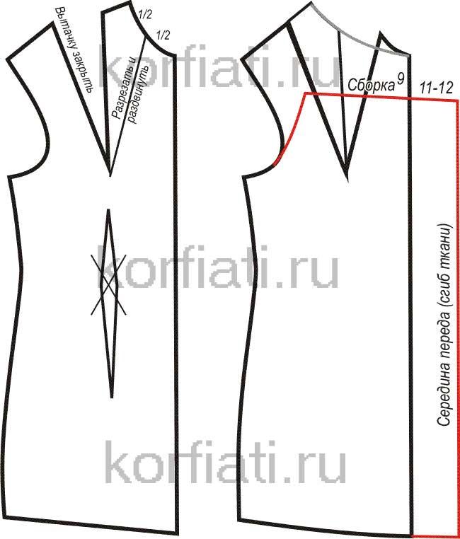 Выкройка шелкового платья - передняя половинка