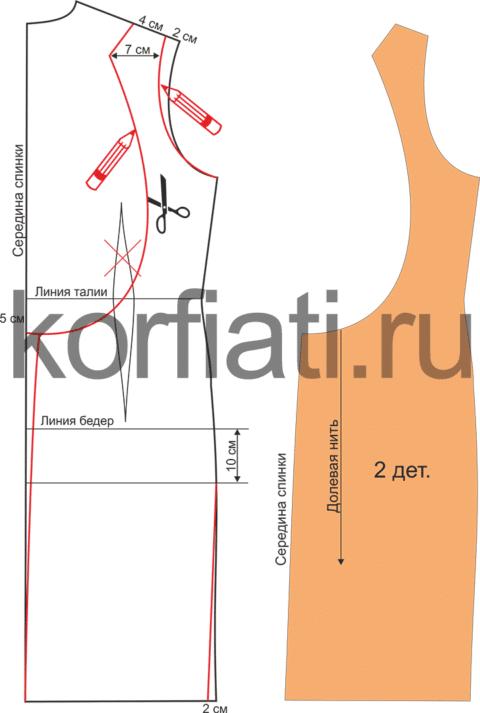 Моделирование спинки платья с открытой спиной